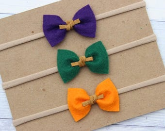 Wool Felt {KATE} Bows - Set of 3 - Nylon Headbands - Purple, Green, Orange - One Size Fits All