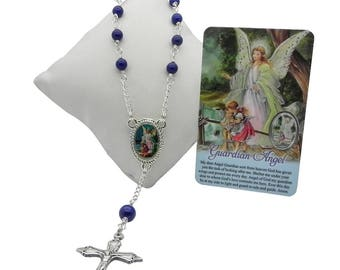 Baby Boy Rosary with Guardian Angel Prayer Card, Baptism Rosary, Baby Rosary, Catholic Rosary Beads, Baptism Gift for Boy, Christening Gift