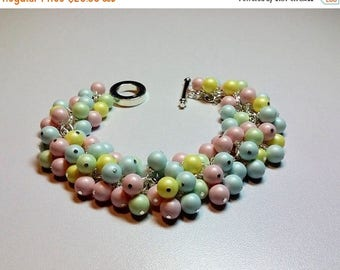 30% OFF SALE thru Mon Pastels Swarovski Blue Pink Green Yellow Pearl Cluster Bracelet, Christmas Bridesmaid Mom Sister Girlfriend Jewelry Gi
