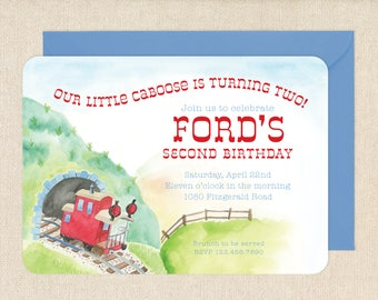 Watercolor Train Caboose Invitations