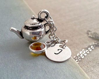 SALE Silver Teapot Necklace. Teapot Jewellery. Teatime Necklace. Initial Teapot Necklace.English Tea Lovers Necklace.BFF Gift
