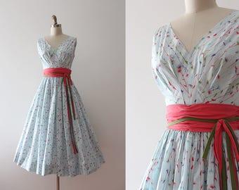 vintage 1950s dress // 50s floral cotton day dress