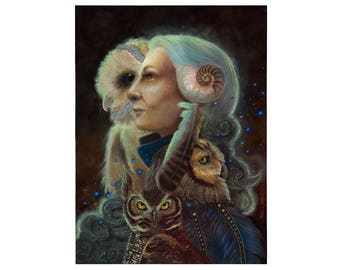 Mother Night Owl Art and Crone Goddess Art Print