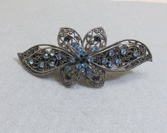 Vintage,Huge Gun Metal and Blue Rhinestone Hair Barrette