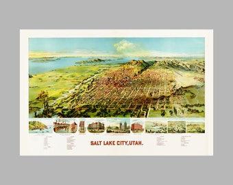 Salt Lake  City Utah - Panoramic Map - Birds Eye View - Print - Poster