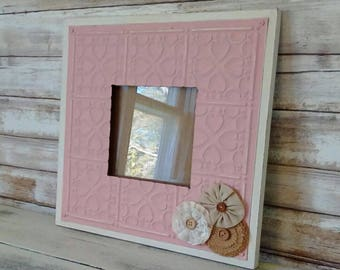 Pink Picture Frame, Painted Ceiling tin Frame, Girl's Nursery Wall decor, Baby shower gift, Shabby Cottage Kids, Savannah's Cottage