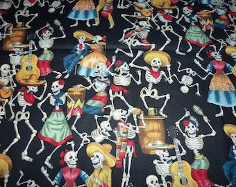 Day Of The Dead Celebration Fabric Black Background  By Fat Quarter New BTFQ