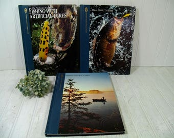 Set of 3 Books from the Hunting & Fishing Library Volumes by Dick Sternberg - Smallmouth Bass / Natural Lakes Fishing Collection of 3 Books