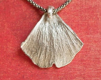 Nature Jewelry, Sterling Silver Ginkgo Biloba Leaf Pendant Necklace