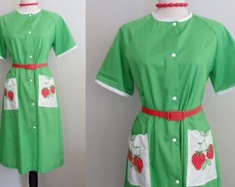 50s Homemaker Waitress Strawberry Applique Day house Dress