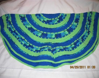 Circle of Love Laptop Blanket - Lime Green and Verigated/Blue