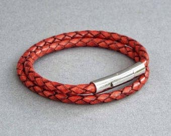 Mens Leather Bracelet, Boyfriend Gift, Anniversary Gift, Braided Leather Bangle, Men's Jewelry,