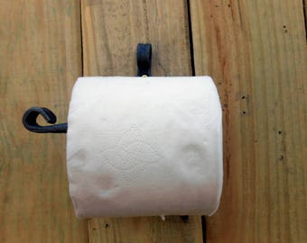 Toilet tissue holder with scrolled top Hand crafted by a blacksmith in the USA