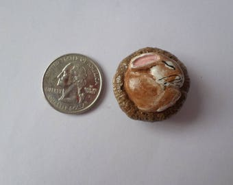 Miniature brown bunny, rabbit figurine, paper clay sculpture, animal totem # 172