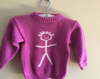 Children's handknit sweater with stickman