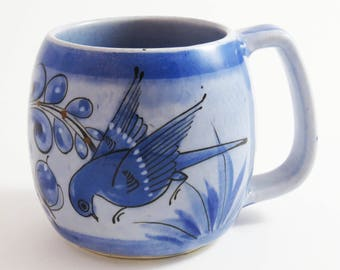 """Vintage TONALA MEXICO Bird Cup / Ceramic Art Pottery Mug: Signed & Made in Mexico / 4.25"""" Tall / Tonala Folk Art - Great Gift Idea"""