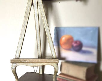 Vintage Italian Florentine Easel Chippy Shabby Chic Cottage Style Rustic Decor