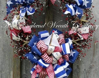 ON SALE Sailboat Wreath, Beach Cottage Wreath, Shell Wreath, Coastal Wreath, Nautical Wreath, Patriotic Wreath, 4th of July Wreath, Memorial