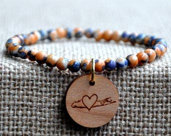 Orange & Blue Splash Beaded Long Island Love Bracelet