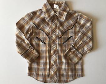 Vintage Western Shirt Gold Thread (3t)