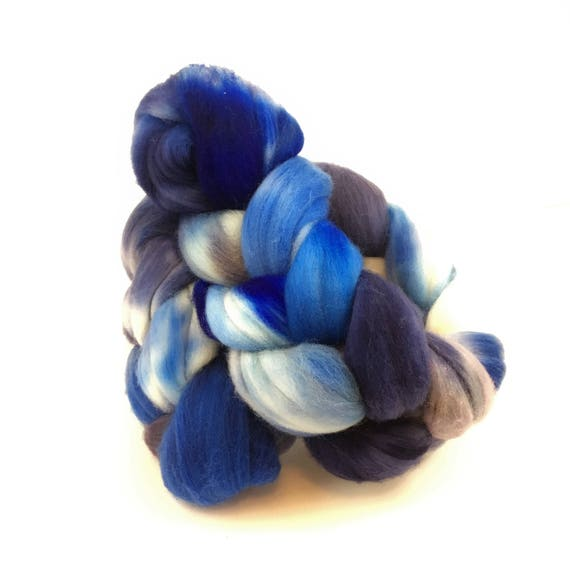 Merino Wool Roving, READY TO SHIP, 21.5 micron, 4 oz, Combed top, Spinning fiber, Wool felting, Wool top, wool roving, wool top, blueberry