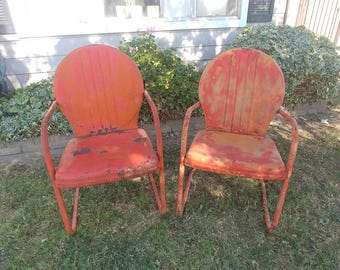 VINTAGE GARDEN CHAIRS Industrial Farmhouse Patio Furniture, Mid Century  Bounce Motel Chair Set, Chippy