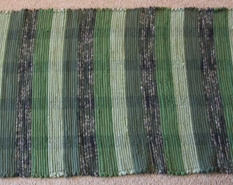 Handwoven Rag Rug - Green stripes - 45 inches....(#180)