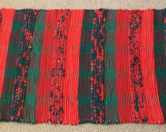 Handwoven Rag Rug - Christmas Red and Green Flannel & Terrycloth - 44 inches....(#188)