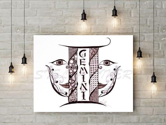 Zodiac  Zentangle  GEMINI  - print from original design and drawing, yoga wall decor