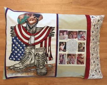 PHOTO PILLOW CASE - Standard Size - One Photo Collage - 1 to 8 photos - printed on a Fabric Panel  - Boots On The Ground or Eagle - Washable