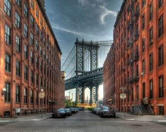 Manhattan Bridge Photograph, New York City, Empire State Building, DUMBO, Brooklyn, Art Print, NYC Photography, HDR, Washington Street