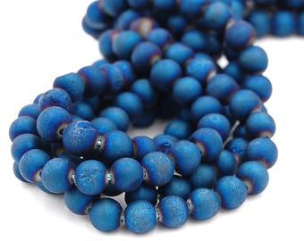 6mm Druzy Agate Blue, Round  -15 inch strand