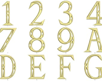 Legend of Zelda Triforce Alphabet in Three Sizes PES Format
