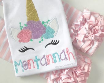 Unicorn Shirt or Bodysuit for girls -- sweet unicorn face with name in pastel rainbow pink, purple, blue, gold