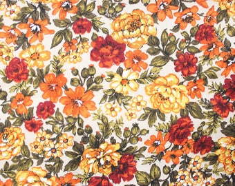 Vintage Marigold Floral Fabric circa 1960's . Heavy Stiff Woven Cotton Material . Orange Yellow Rustic Fall Project . Screenprint Hand Print