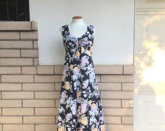 70s Hawaiian Dress Black Orange Pink Gerbera Daisy Print Empire Maxi Sundress by Shoreline Hawaii TALL