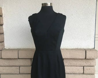Vintage 60s Mini Dress, Soutache Lace Dress, Black High Waist Dress, LBD Size XS