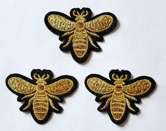 3pcs Gold Queen Bee Embroidered Applique Patches. Iron On or Sew On Patches for T-shirts, Jeans and Jackets. Black & Metallic Gold Bees 55mm