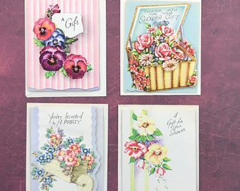 Vintage Tiny Greeting Cards Set of Four 9008