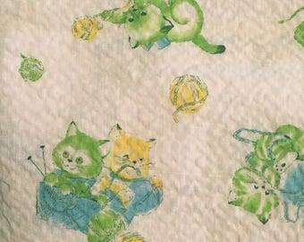 1970s Kittens and Yarn Print Fabric