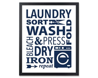 Laundry Printable Navy Laundry Sign Wash Dry Fold Repeat Laundry Room Decor Laundry Wall Art Laundry design Laundry Poster Laundry Art navy