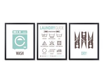 Laundry Symbols Wall Art Simple Laundry Symbols  Etsy Inspiration Design