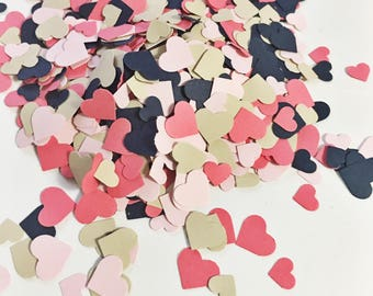 Adorable Heart Confetti in Dark Coral Light Pink Beige and Navy Blue over 1000 hearts Wedding Decor Table Decorations Tiny Hearts