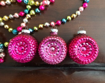Vintage Pink Mercury Glass Christmas Ornaments Indented Shiny Brite Vintage Christmas Pink Perfection