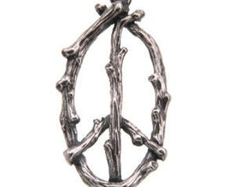 Peace Branch Pendant -32mm, Sterling Silver