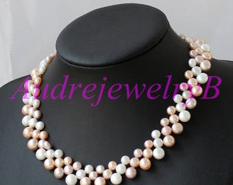 Hand-woven Braided Pearl Necklace Ivory Colourful Gray Bridal Necklace Wedding Gift ,Pearl NecklaceWoman Jewelry