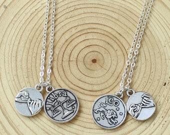 set of 2 pinky promise necklaces with Zodiac initials,Aries,Taurus,Gemini,Cancer,Leo,Virgo,Libra,Scorpio,Sagittarius,Capricorn,Aquarius,