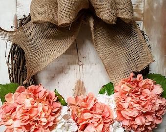 Front door Wreath, Only 1 available, Front door wreath, hydrangea, Wreath - Wreath Great for All Year Round, Door Wreath