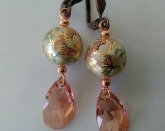Floral and Swarovski Crystal Drop Earrings