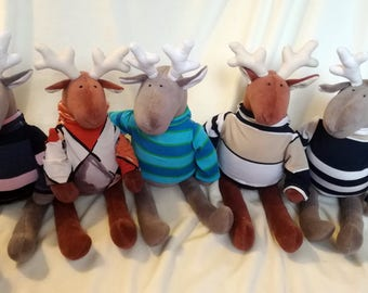 SALE, SALE, SALE Stuffed Reindeer wearing sweater, Soft toy for kids, Plush Elk Stuffed Toy - Ready to ship, RtS